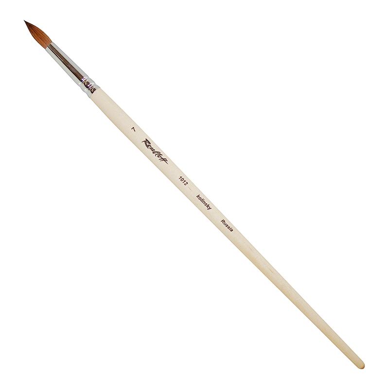Купить Кисть колонок №7 круглая Roubloff 1012 длинная ручка п/лак, Россия