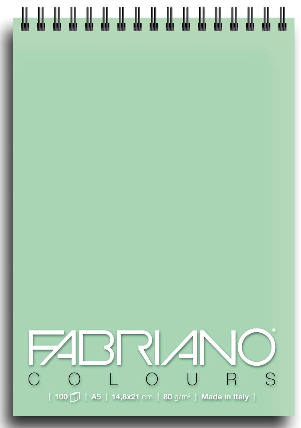 Альбом для графики на спирали Fabriano Writing Colors 148х21 см 100 л 80 г аквамарин.