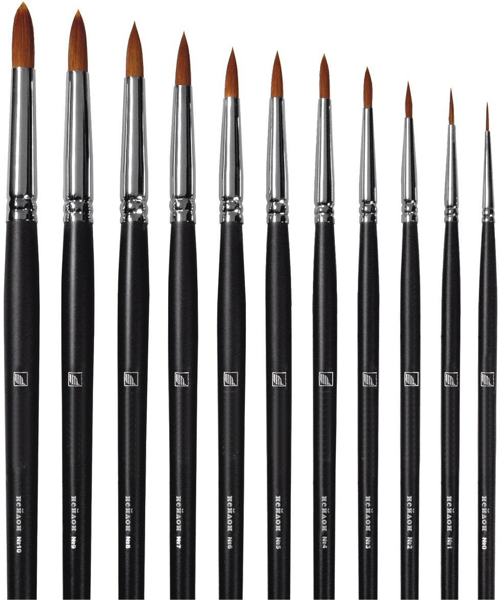 Купить Кисть синтетика №10 круглая Альбатрос Профи длинная ручка, Россия