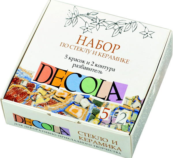 Купить Набор красок по стеклу и керамике Decola 5 цв*20 мл +2 контура+разбавитель, Россия