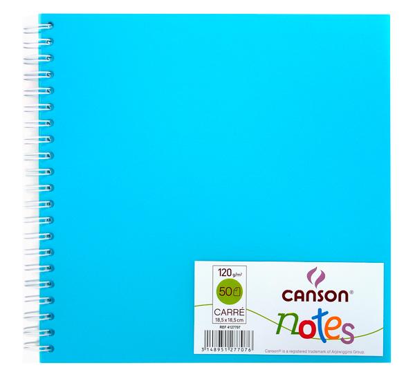 Блокнот для графики на спирали Canson Notes 18, 5х18, 5 см 50 л 120 г, обложка пластик. голубая, Франция  - купить со скидкой