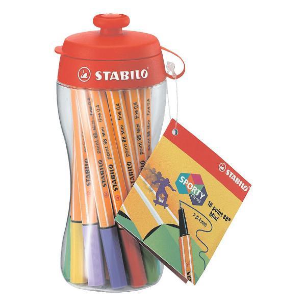 Купить Набор ручек капиллярных Stabilo Point 88 mini в спортивной бутылке 18 шт, Германия