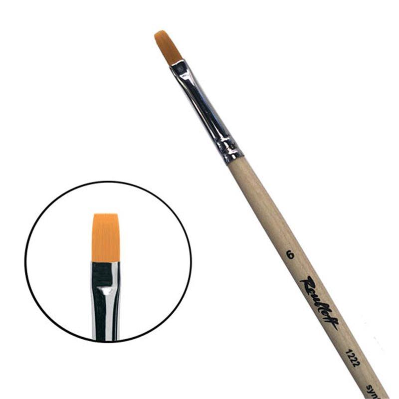 Купить Кисть синтетика №6 плоская Roubloff 1222 длинная ручка п/лак, Россия