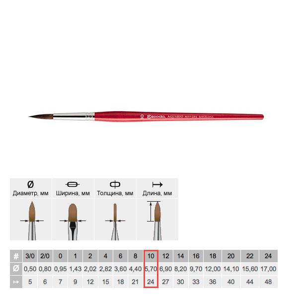 Купить Кисть белка №10 круглая Escoda Aquario 1125 короткая ручка красная, Испания