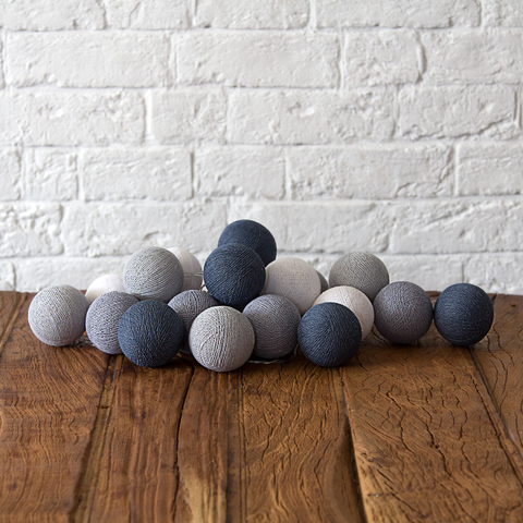 Купить Гирлянда из хлопковых шариков Lares & Penates блюиш грей 20, от батареек, Lares & Penates