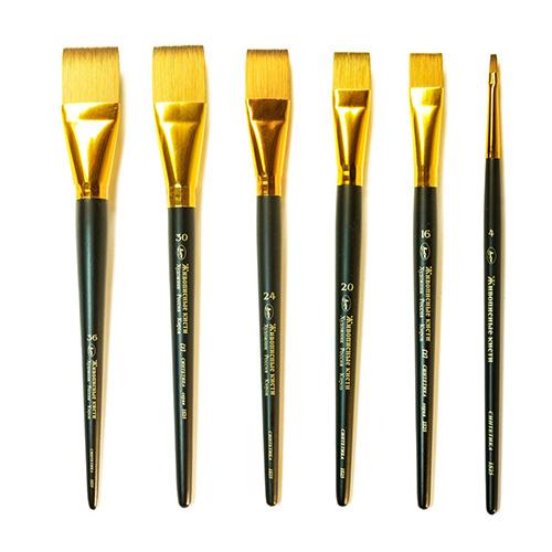 Купить Кисть синтетика под колонок №12 плоская Живописные кисти 1S25 короткая ручка, Россия