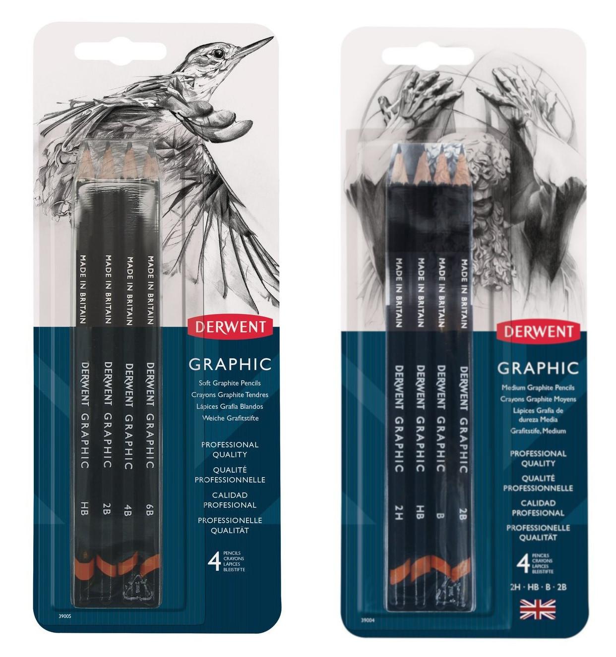Купить Набор карандашей чернографитных Derwent Graphic Soft и Graphic Medium 4 шт.
