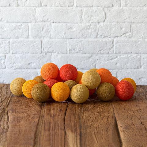 Купить Гирлянда из хлопковых шариков Lares & Penates осень 20, от батареек, Lares & Penates