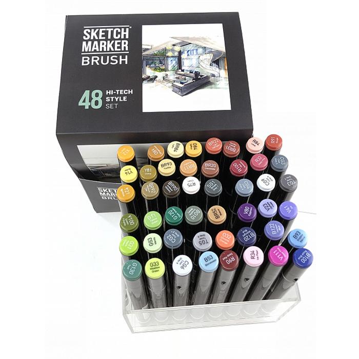 Купить Набор маркеров Sketchmarker Brush 48 HiTex style- Хай тек (48 маркеров в пластиковом кейсе), Япония