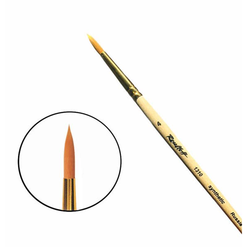 Купить Кисть синтетика №4 круглая Roubloff 1310 короткая ручка п/лак, Россия