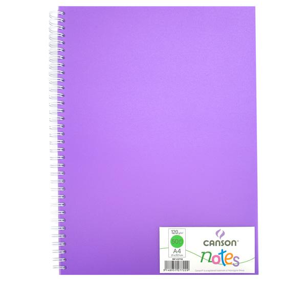 Купить Блокнот для графики на спирали Canson Notes А4 50 л 120 г, обложка пластик. фиолетовая, Франция