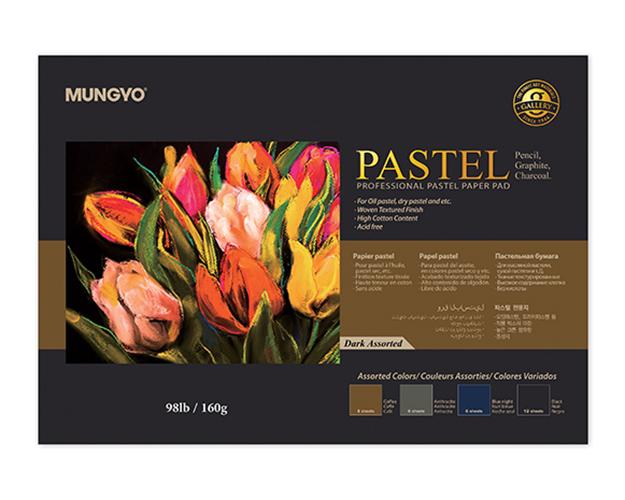 Купить Альбом-склейка для пастели MUNGYO Pastel А3 20 л 160 г (3 цв х 4 листа + черная 8 листов), Россия