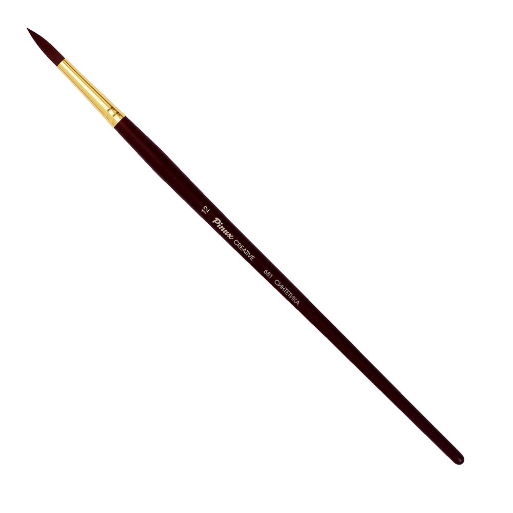 Купить Кисть синтетика №12 круглая Pinax Creative 681 жесткая, длинная ручка, Китай