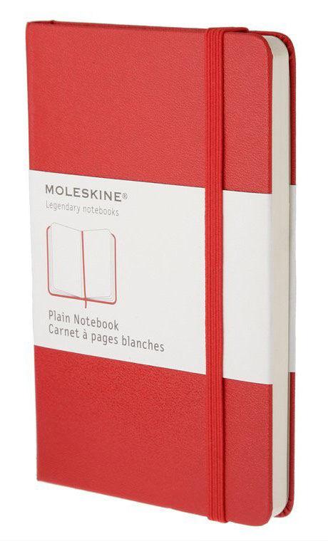 Записная книжка нелинованная Moleskine Classic Pocket 90x140 мм 192 стр обложка твердая красная.