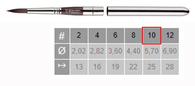 Купить Кисть синтетика №10 круглая Escoda Versatil 1548 ручка съемная металлическая, Испания
