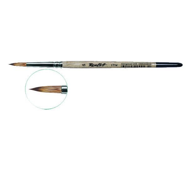 Купить Кисть синтетика мангуст имитация №5 круглая Roubloff 1Т14 короткая ручка, Россия