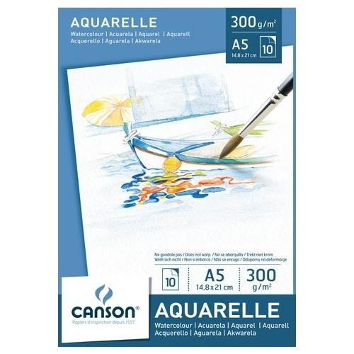 Купить Альбом-склейка для акварели Canson Aqurelle 14, 8х21 см 10 л 300 г, Франция