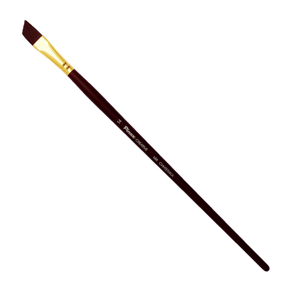 Купить Кисть синтетика №14 скошенная Pinax Creative 688 жесткая, длинная ручка, Китай