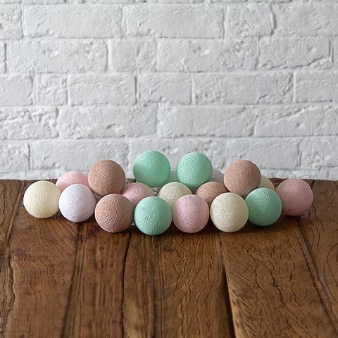 Купить Гирлянда из хлопковых шариков Lares & Penates нежность 20, от батареек, Lares & Penates