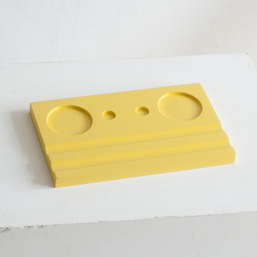 Подставка для чернильницы-непроливайки двойная, цвет желтый