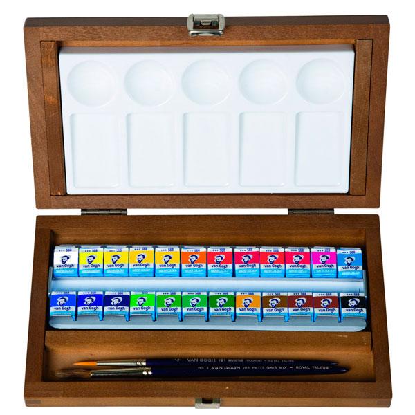 Купить Набор акварели Talens Van Gogh 24 цвета в кюветах, в деревянной коробке, Royal Talens