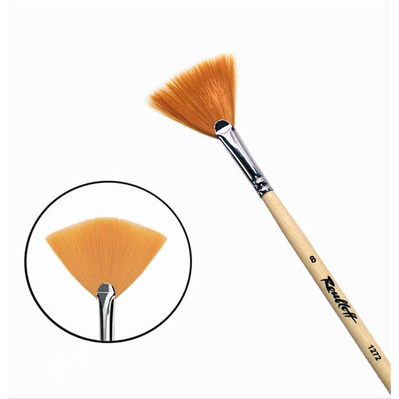 Купить Кисть синтетика №8 веерная Roubloff 1272 длинная ручка п/лак, Россия
