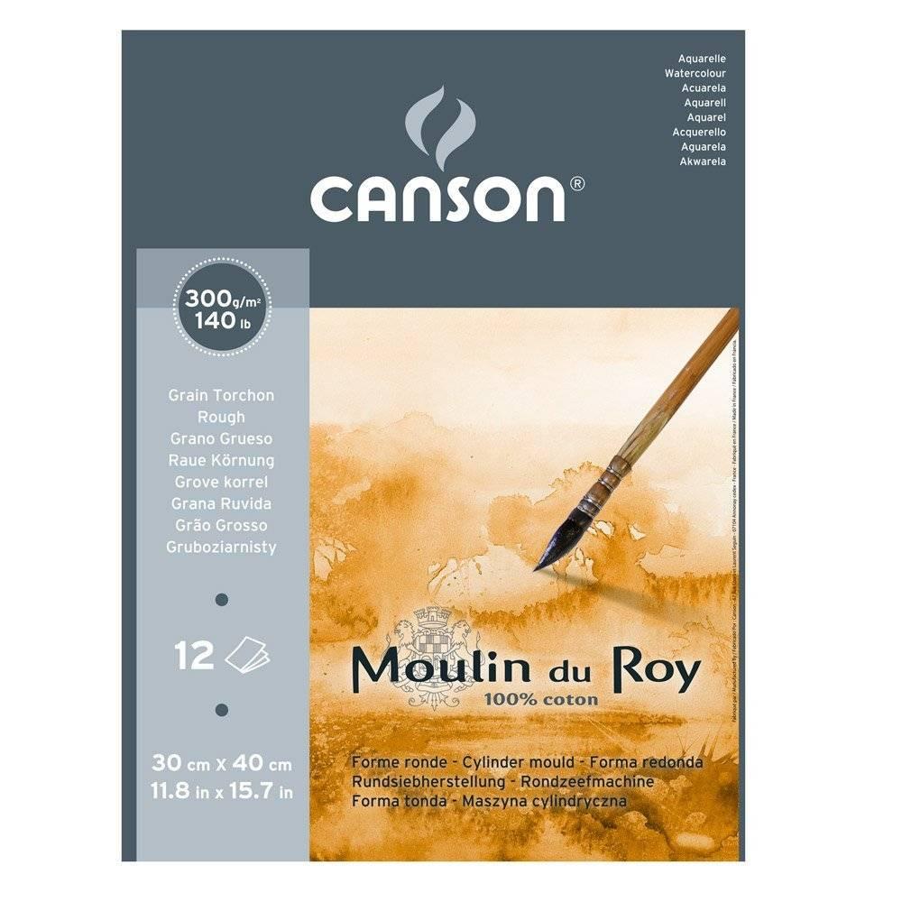 Купить Альбом-склейка для акварели Canson Moulin du Roy Torchon 30х40 см 12 л 300 г, Франция