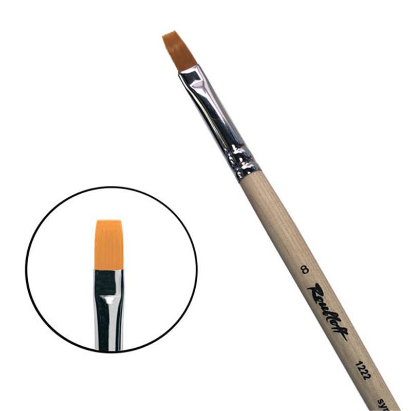 Купить Кисть синтетика №7 плоская Roubloff 1222 длинная ручка п/лак, Россия