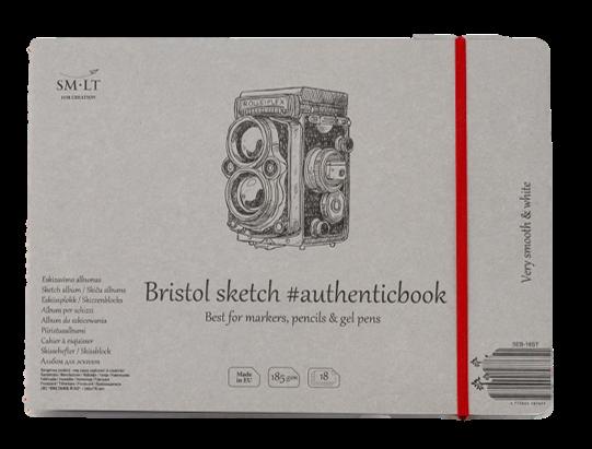 Скетчбук Smiltainis Authentic Bristol с резинкой 24, 5x17, 9 см 18 л 185 г, Литва  - купить со скидкой