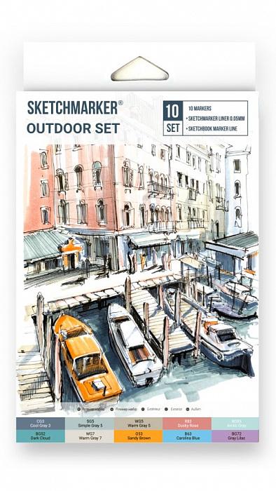 Купить Набор маркеров Sketchmarker Outdoor 10 шт в картонной упаковке, Япония
