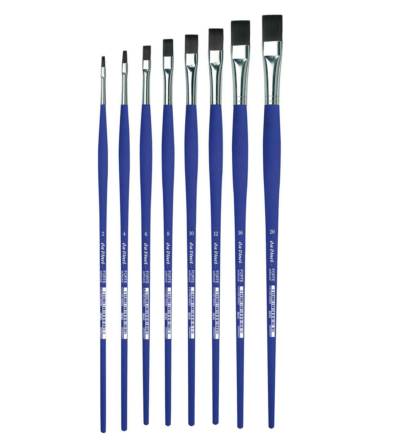 Купить Кисть синтетика №4 плоская Da Vinci 8640 длинная ручка, Германия