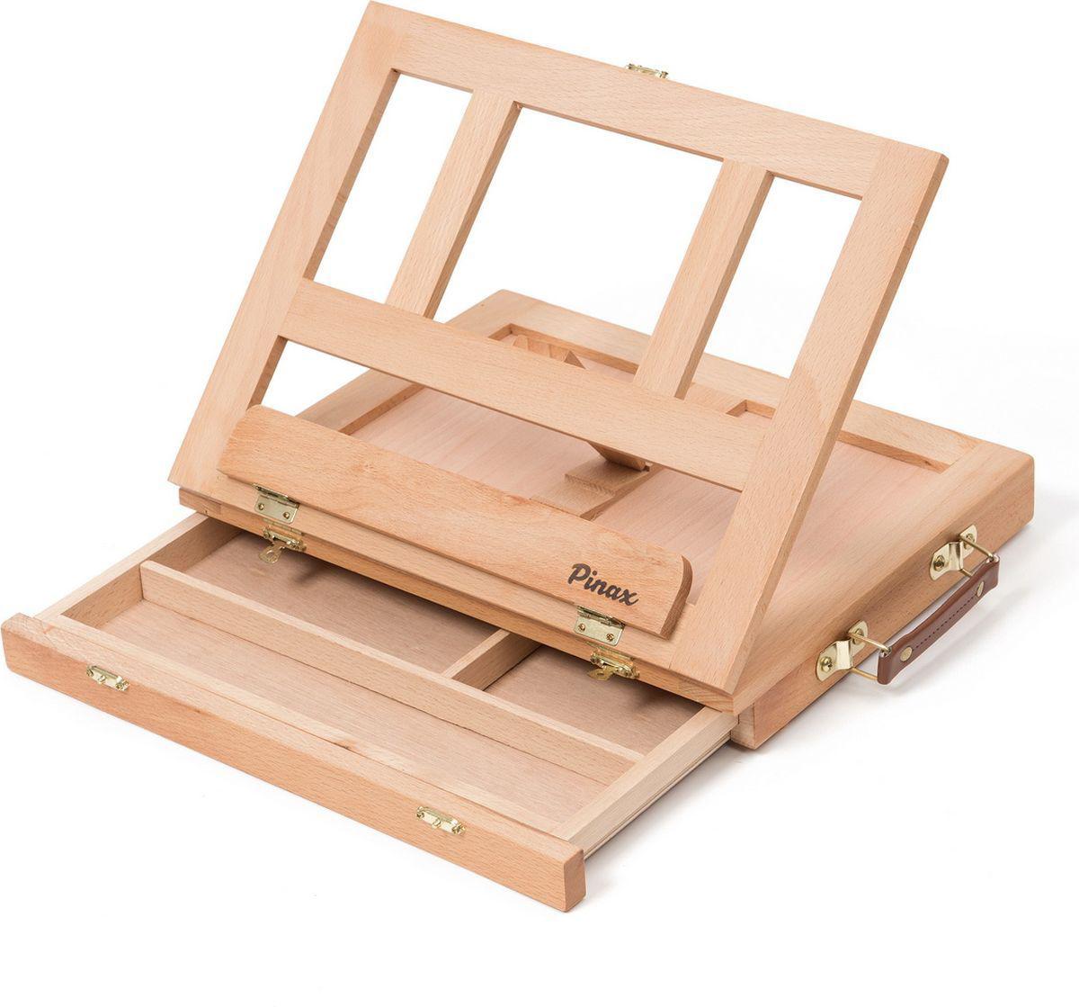 Купить Мольберт настольный Pinax TE-01B с ящиком для кистей и красок, малый, бук, Китай
