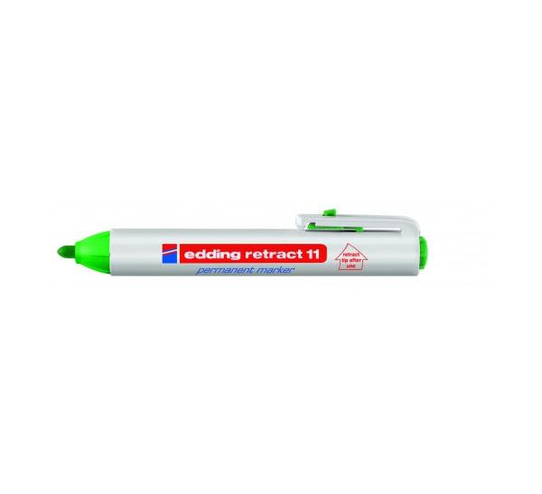 Купить Маркер перманентный Edding 11 1, 5-3 мм с круглым наконечником, с кнопкой, зеленый, Германия