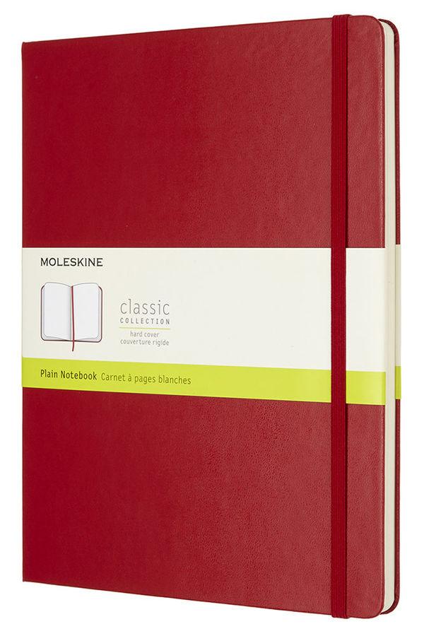 Записная книжка нелинованная Moleskine Classic XLarge 190х250 мм 192 стр обложка красная.