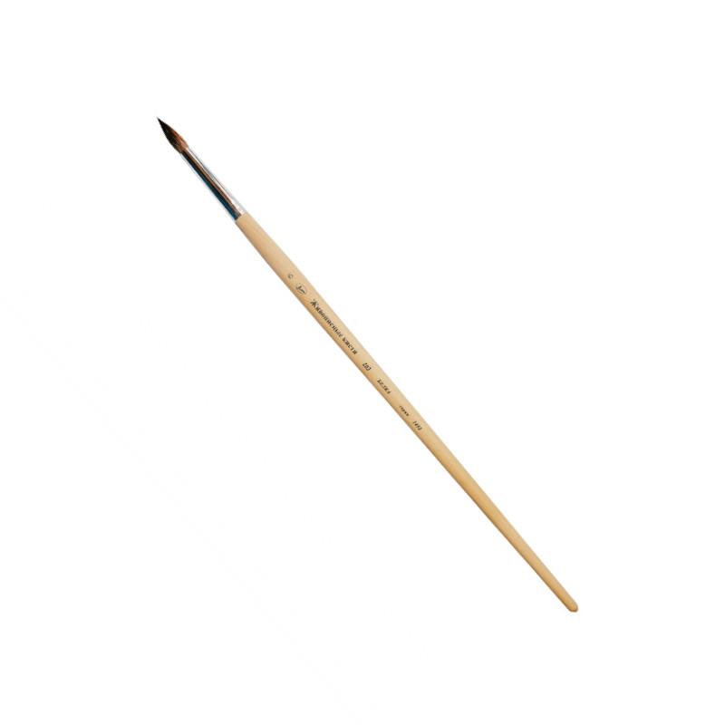 Купить Кисть белка №0 круглая Живописные кисти 1459 короткая ручка с черным наконечником, Россия