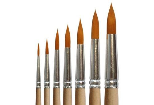 Купить Кисть синтетика №8 круглая Живописные кисти 1312 длинная ручка п/лак, Россия