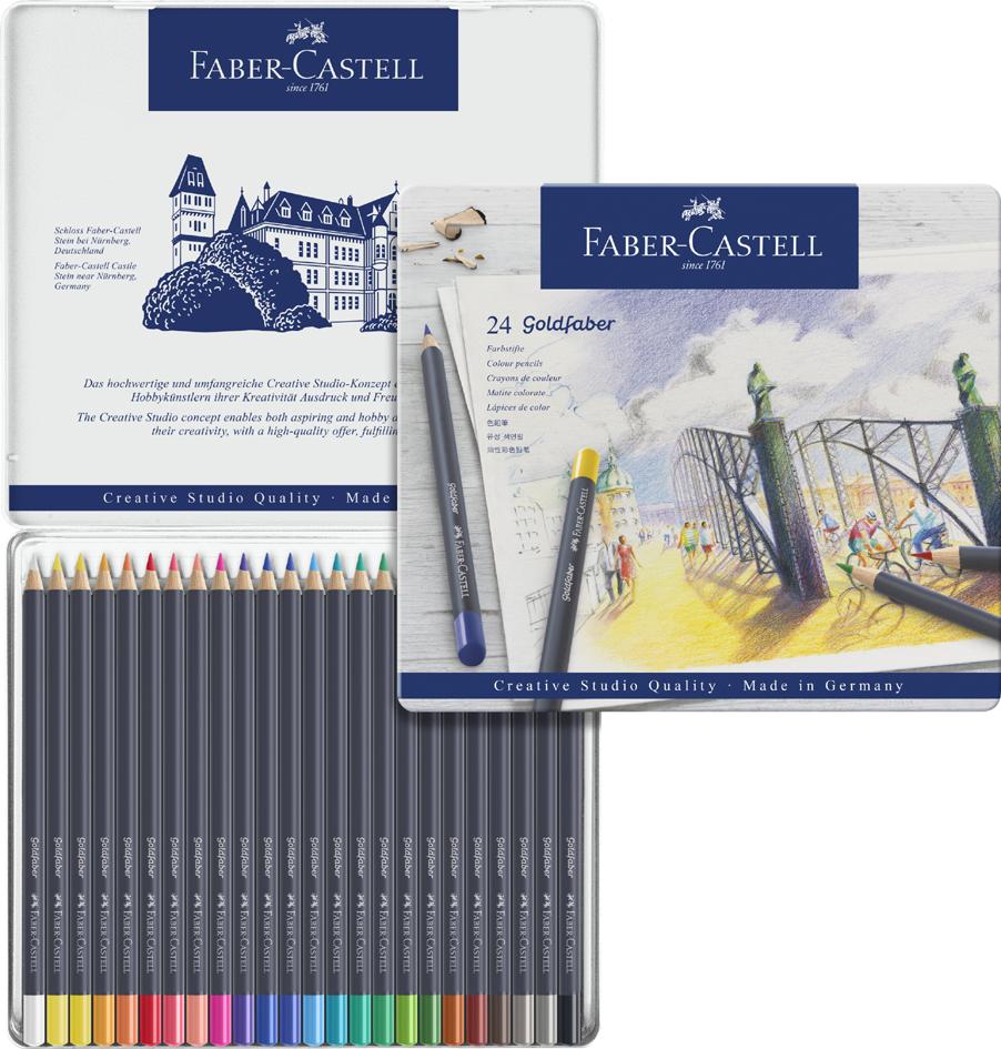 Купить Набор карандашей цветных Faber-castell Goldfaber 24 шт, в металлической коробке, Faber–Сastell, Германия