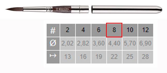 Купить Кисть синтетика №8 круглая Escoda Versatil 1548 ручка съемная металлическая, Испания