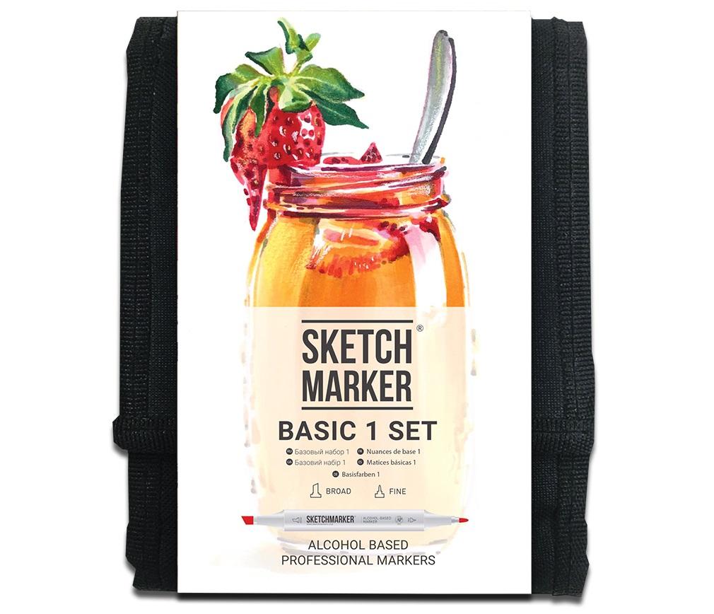 Купить Набор маркеров Sketchmarker Basic 1 set 12 Базовые оттенки сет 1 (12 маркеров + сумка органайзер), Япония