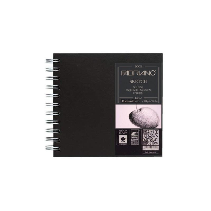 Купить Блокнот для эскизов на спирали Fabriano Sketch 15x15 см 80 л 110 г твердая обложка, Италия