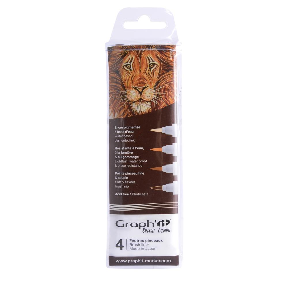 Купить Набор ручек капиллярный Graph'it Brush 4 шт, коричневые оттенки, Китай
