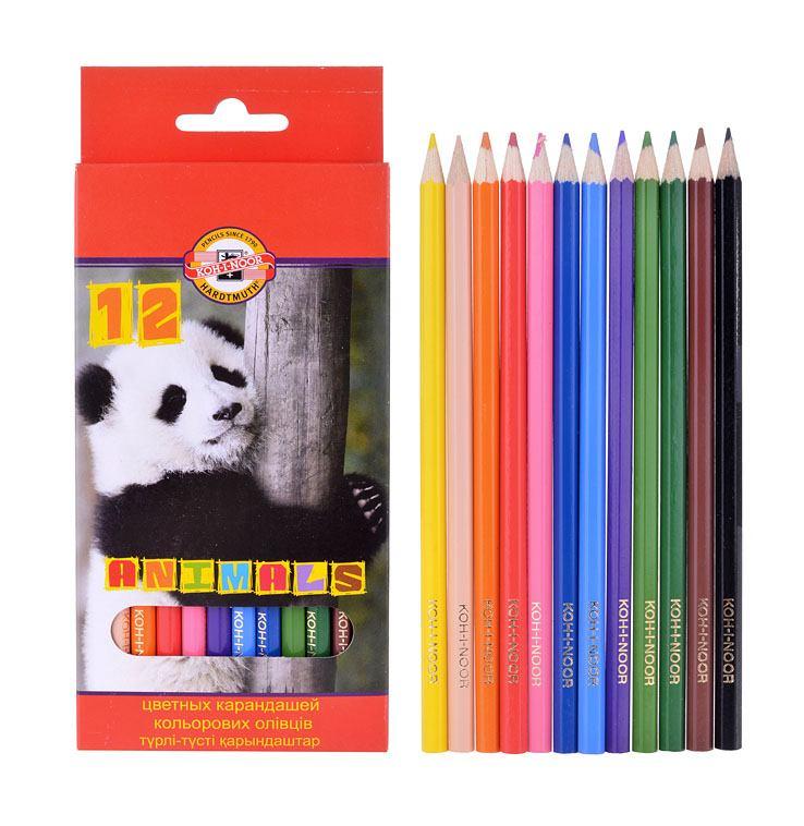 Купить Набор карандашей цветных Koh-I-Noor Животные 12 цветов, картон, KOH–I–NOOR, Чехия