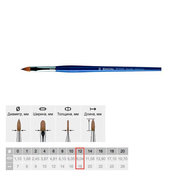 Купить Кисть колонок №12 плоская язык Escoda Optimo 2813 длинная ручка синяя, Испания