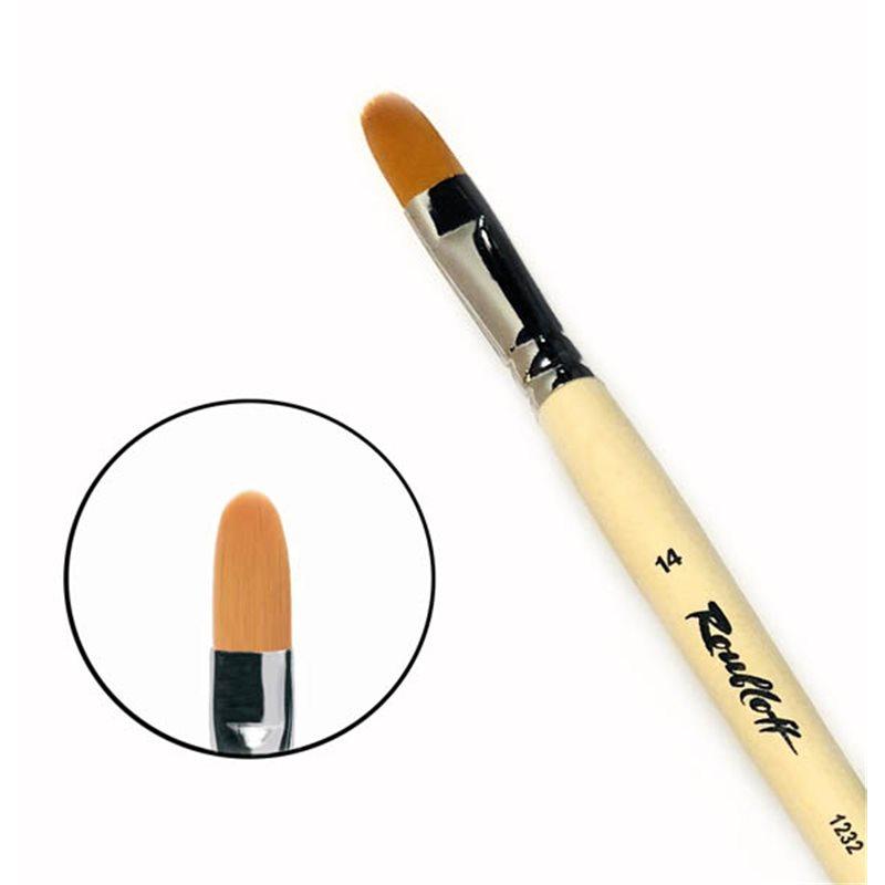 Купить Кисть синтетика №14 овальная Roubloff 1232 длинная ручка п/лак, Россия
