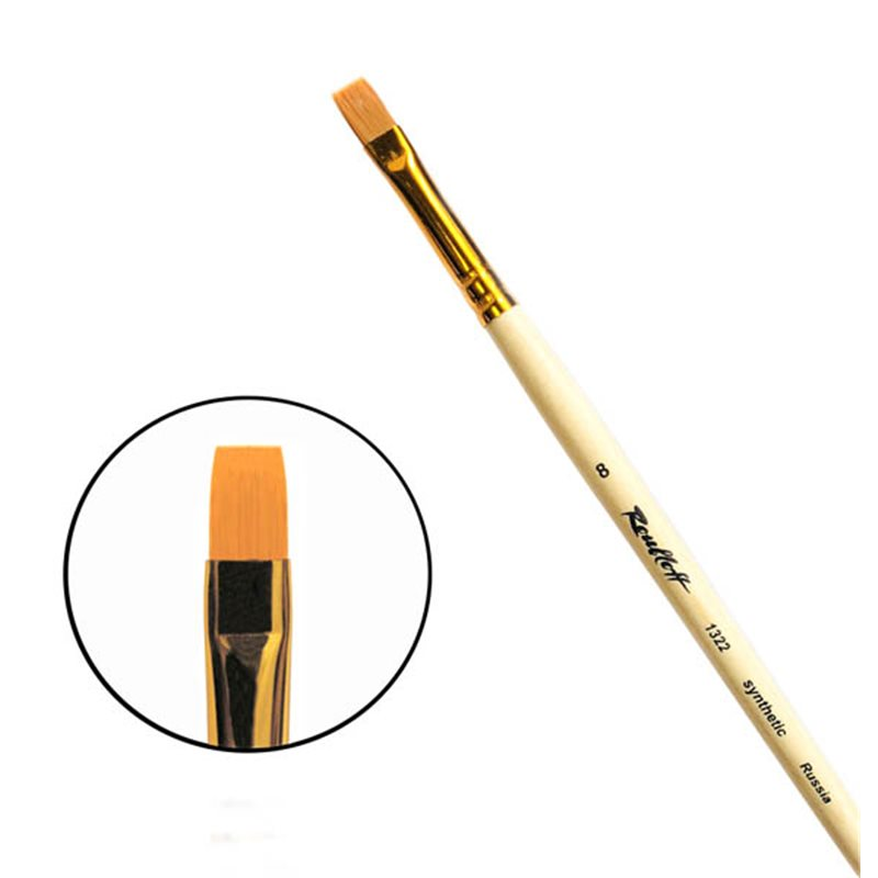 Купить Кисть синтетика №8 плоская Roubloff 1322 длинная ручка п/лак, Россия