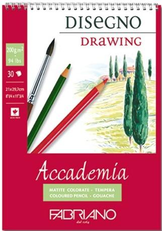 Купить Блокнот для эскизов на спирали Fabriano Accademia А4 30 л 200 г, Италия