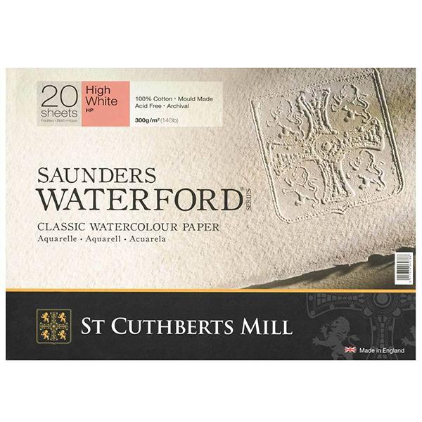 Купить Альбом-склейка для акварели Saunders Waterford H.P. мелкое зерно 23х31 см 20 л 300 г белоснежный, St Cuthberts Mill, Великобритания