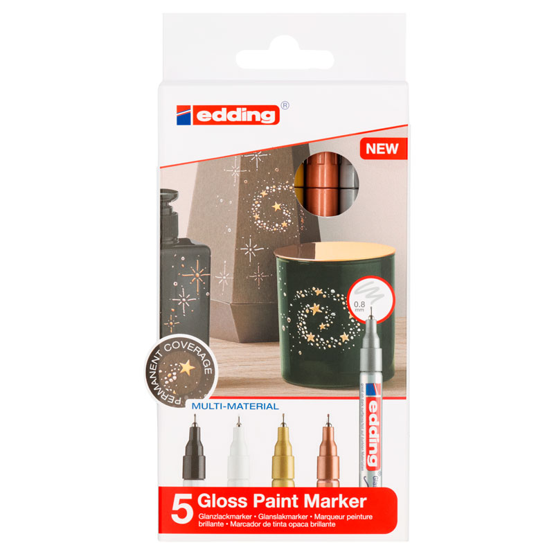 Купить Набор маркеров декоративных, лаковых Edding 5 шт, 0, 8 мм (01, 49, 53, 54, 55), Германия