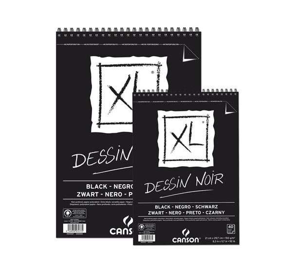 Купить Альбом для графики на спирали Canson XL Black 29, 7х42 см 40 л 150 г, Франция
