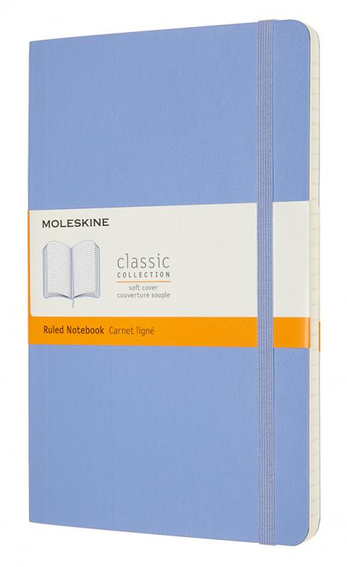 Записная книжка в линейку Moleskine Classic Soft Large 13х21 см 192 стр. обложка мягкая голубая г.